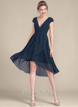 A-Line V-neck Asymmetrical Chiffon Bridesmaid Dress (007105586)