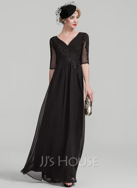A-Line V-neck Floor-Length Chiffon Lace Mother of the Bride Dress With Ruffle Beading Sequins (008107638)