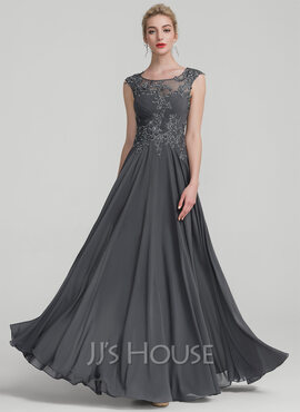 A-Line/Princess Scoop Neck Floor-Length Chiffon Evening Dress With Ruffle Beading Sequins (017116333)