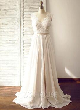 A-Line V-neck Court Train Chiffon Wedding Dress (002104627)