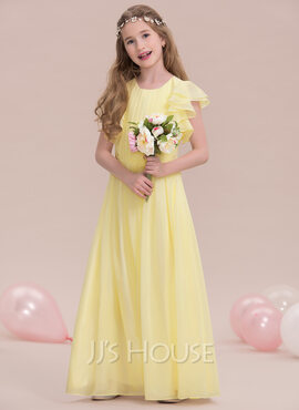 A-Line Scoop Neck Floor-Length Chiffon Junior Bridesmaid Dress With Ruffle Cascading Ruffles (009123850)