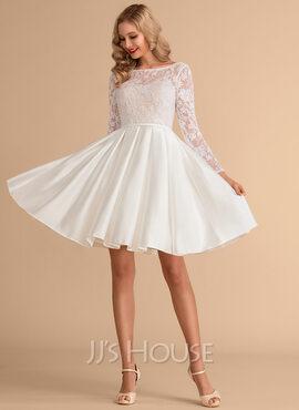 Ball-Gown/Princess Scoop Neck Knee-Length Satin Lace Wedding Dress (002215659)