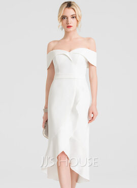Trumpet/Mermaid Off-the-Shoulder Asymmetrical Stretch Crepe Cocktail Dress With Ruffle Cascading Ruffles (016150183)