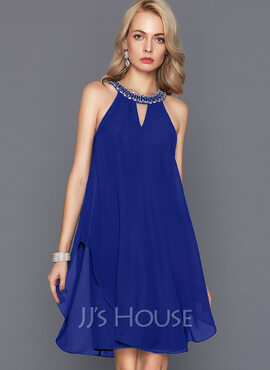 A-Line Scoop Neck Knee-Length Chiffon Cocktail Dress With Beading (016124578)