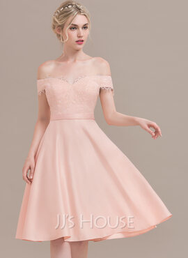 A-Line Off-the-Shoulder Knee-Length Satin Cocktail Dress With Beading Sequins (016108729)