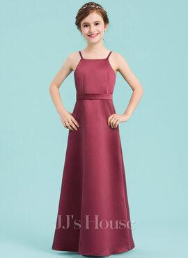 A-Line Square Neckline Floor-Length Satin Junior Bridesmaid Dress With Bow(s) (009148424)
