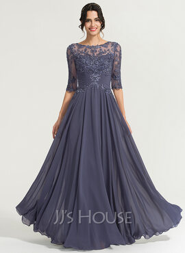 A-Line Scoop Neck Floor-Length Chiffon Evening Dress With Sequins (017167702)