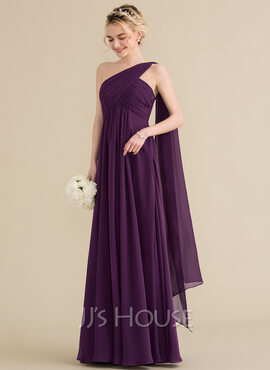 A-Line/Princess One-Shoulder Floor-Length Chiffon Bridesmaid Dress With Ruffle (007144775)
