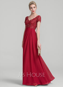 A-Line V-neck Floor-Length Chiffon Lace Evening Dress With Ruffle Beading (017131492)