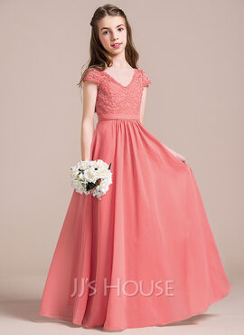 A-Line V-neck Floor-Length Chiffon Lace Junior Bridesmaid Dress (009087908)