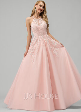 Ball-Gown/Princess Scoop Neck Floor-Length Tulle Prom Dresses With Lace Beading Sequins (018220233)