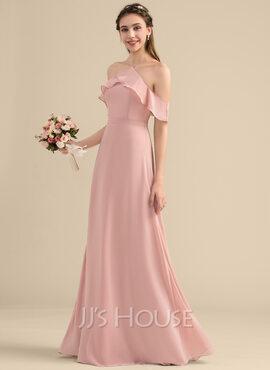 A-Line V-neck Floor-Length Chiffon Bridesmaid Dress With Bow(s) Cascading Ruffles (007153309)