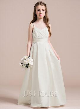 A-Line Sweetheart Floor-Length Satin Junior Bridesmaid Dress With Ruffle (009087905)