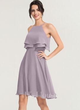 A-Line Square Neckline Knee-Length Chiffon Cocktail Dress (016170872)