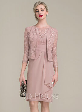 Sheath/Column Scoop Neck Knee-Length Chiffon Lace Mother of the Bride Dress With Cascading Ruffles (008102705)