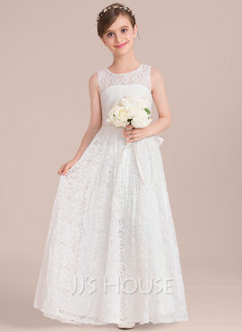 A-Line Scoop Neck Floor-Length Lace Junior Bridesmaid Dress With Sash Bow(s) (009130490)