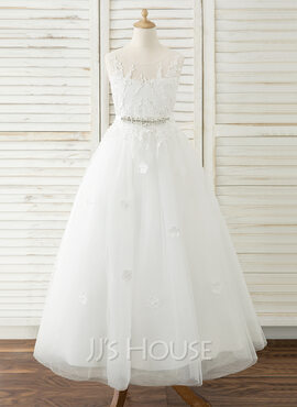 A-Line Floor-length Flower Girl Dress - Tulle/Lace Sleeveless Scoop Neck (010183558)