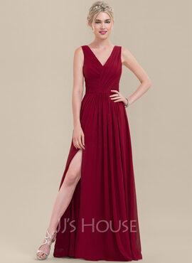 A-Line/Princess V-neck Floor-Length Chiffon Bridesmaid Dress With Ruffle Split Front (007116659)