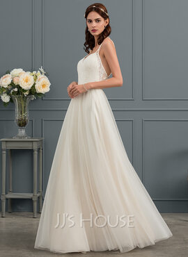 A-Line Sweetheart Floor-Length Tulle Wedding Dress (002153448)