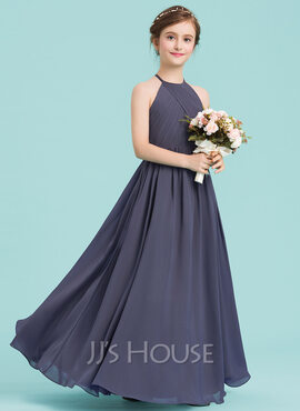 A-Line Scoop Neck Floor-Length Chiffon Junior Bridesmaid Dress With Ruffle (009149006)