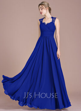 A-Line Sweetheart Floor-Length Chiffon Lace Bridesmaid Dress With Ruffle Bow(s) (007104746)