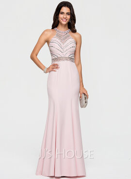Trumpet/Mermaid Scoop Neck Sweep Train Stretch Crepe Prom Dresses With Beading Sequins (018163268)