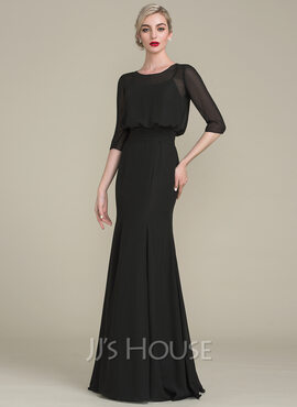 Trumpet/Mermaid Scoop Neck Floor-Length Chiffon Evening Dress With Ruffle (017130714)