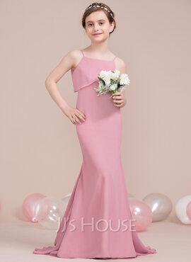 Trumpet/Mermaid Square Neckline Sweep Train Chiffon Junior Bridesmaid Dress With Cascading Ruffles (009106855)