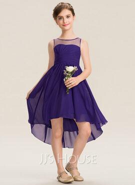 A-Line Scoop Neck Asymmetrical Chiffon Junior Bridesmaid Dress With Ruffle (009173301)