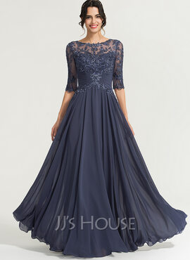 A-Line Scoop Neck Floor-Length Chiffon Prom Dresses With Sequins (018192893)
