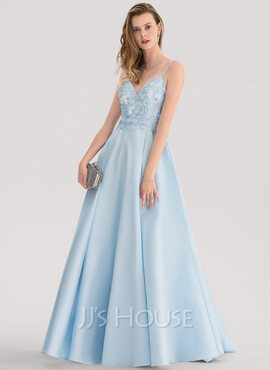 A-Line V-neck Sweep Train Satin Prom Dresses With Lace Beading (018138345)