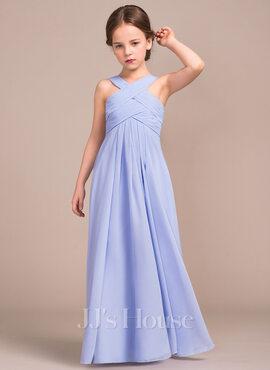 A-Line V-neck Floor-Length Chiffon Junior Bridesmaid Dress With Ruffle (009081159)