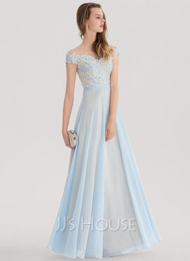 A-Line/Princess Off-the-Shoulder Floor-Length Chiffon Prom Dresses With Beading (018138343)