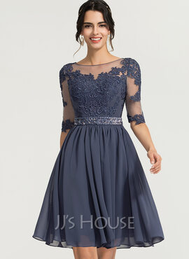 A-Line Scoop Neck Knee-Length Chiffon Cocktail Dress With Beading (016170901)