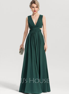 A-Line V-neck Floor-Length Chiffon Evening Dress (017153657)