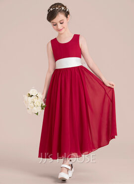 Empire/A-Line Ankle-length Flower Girl Dress - Chiffon/Satin Sleeveless Scoop Neck With Sash/Bow(s) (010136597)