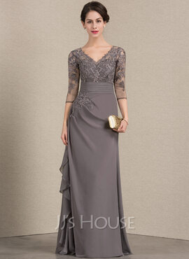 A-Line V-neck Floor-Length Chiffon Lace Mother of the Bride Dress With Cascading Ruffles (008143355)