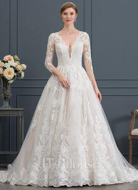 Ball-Gown/Princess V-neck Chapel Train Tulle Wedding Dress (002171944)