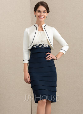 Sheath/Column Scoop Neck Knee-Length Chiffon Mother of the Bride Dress With Appliques Lace (008152151)