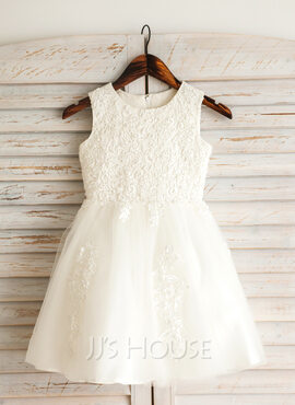 A-Line Knee-length Flower Girl Dress - Satin/Tulle/Lace/Cotton Sleeveless Scoop Neck With Appliques (010092640)