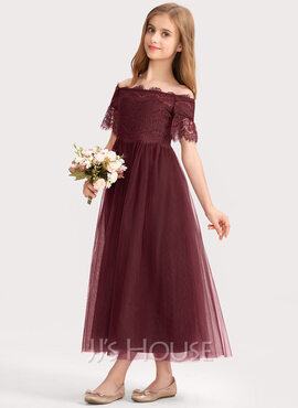 A-Line Off-the-Shoulder Ankle-Length Tulle Lace Junior Bridesmaid Dress (009191732)