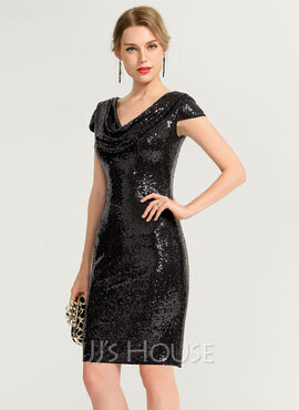 Sheath/Column Cowl Neck Knee-Length Sequined Cocktail Dress (016170862)