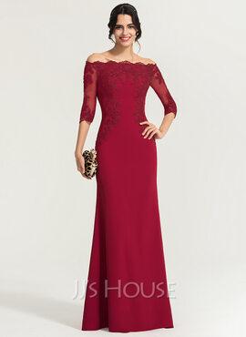 Sheath/Column Off-the-Shoulder Floor-Length Stretch Crepe Evening Dress (017167705)