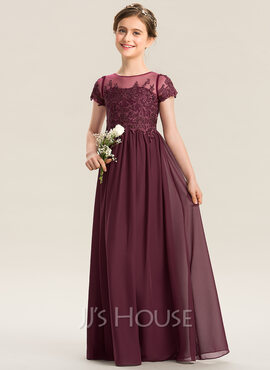 A-Line Scoop Neck Floor-Length Chiffon Lace Junior Bridesmaid Dress (009173300)