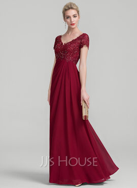 A-Line V-neck Floor-Length Chiffon Lace Mother of the Bride Dress With Ruffle Beading (008114230)