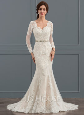 Trumpet/Mermaid V-neck Court Train Tulle Wedding Dress With Beading (002127260)