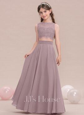 A-Line Scoop Neck Floor-Length Chiffon Junior Bridesmaid Dress (009119582)