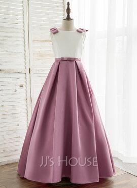 A-Line Sweep Train Flower Girl Dress - Satin Sleeveless Scoop Neck (010164719)