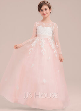 Ball-Gown/Princess Floor-length Flower Girl Dress - Tulle/Lace Long Sleeves Scoop Neck With Bow(s) (010143270)