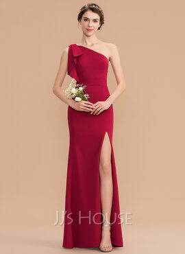 Sheath/Column One-Shoulder Floor-Length Stretch Crepe Bridesmaid Dress With Split Front (007176742)